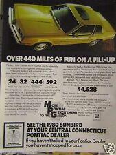 "1980 Pontiac Sunbird Original Print Ad-8.5 x 10.5""Regional Ad"