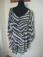 ELILA Beaded Silk Grey & White Short Kaftan Dress S/M Rrp. $240