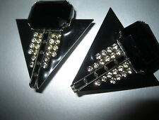 """""""MOULIN ROUGE SIGNED ABSTRACT CLIP-ON EARRINGS"""" W/RHINESTONES & BLACK FINISH!"""