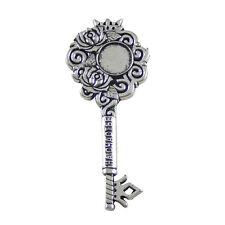 3pcs Retro Silver Alloy Rose Flower Engraved Words Key Shape Cameo Base Pendants