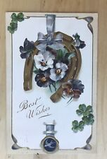 Vintage Best Wishes Postcard - Horseshoe & Pansies 1908