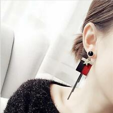 Fashion jewelry red and black strip leather star drop dangle earrings