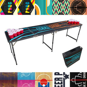 BEER PONG TABLE 8ft FOLDING - 12 Designs | Party Drinking Game Birthday Event