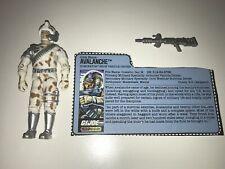 """Gi Joe 1987 Avalanche 100% w/ Cut File Card & New """"o"""" Ring"""