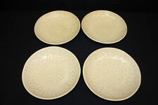 """4 Pc Noemi Ceramiche Handcrafted YELLOW Dimpled 9.5"""" Pasta Bowls, Umbria Italy"""