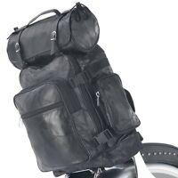 3pc Black Buffalo Leather Motorcycle Bag Set Luggage Sissy Bar Backpack Barrel