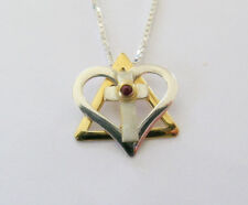 Star of David with cross and Ruby Messianic Silver and Gold pendant