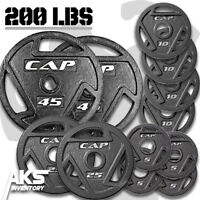 "Weight Plates 200lb Olympic 2"" Cast Iron Grip Home Gym Fitness Exercise Lifting"