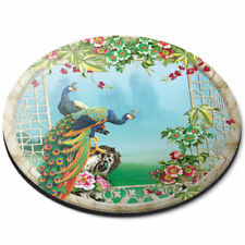 Round Mouse Mat - 3D Flowery Peacock Illustration Office Gift #21058