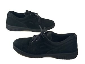 Ecco Soft Suede Black Lace-up Sneakers Shoes Women's Size: 9-9.5 US/ 40 EU