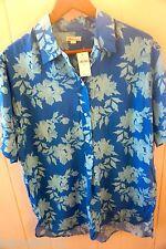"new GAP ""Blue Floral"" button front S/S blouse size Medium (Orig. $ 49.95)"
