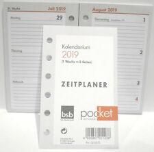2019 Timer Einlage A7 Pocket 1 Woche = 2 Seiten BSB 02-0072 Kalender Zeitplaner