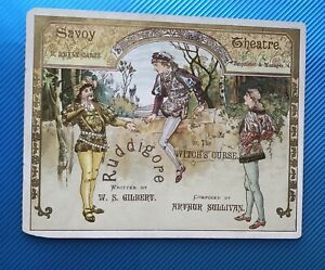 Original Card Programme Cover From The First Production of Ruddigore (1887)