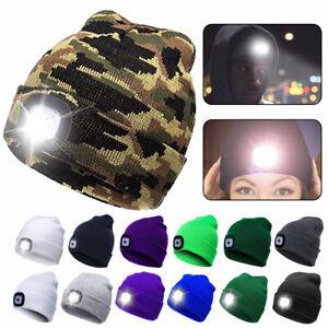Wintermütze Warme Strickmütze Mit LED Licht aufladbar Beanie Mütze Stirnlampe