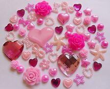 Roses pâle mixte résine profonde roses Arcs perle strass cœur flat-back Craft