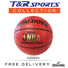 Size 7 Spalding Gold NBA Basketball Game Ball Indoor Outdoor Local Storage