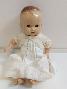 """Vintage 13"""" Baby Doll 1950 1960s Plastic Closing Eyes Handmade Christening Gown"""