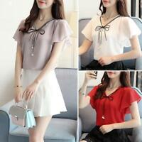 Women Bow Tie Chiffon Blouse Bell Short Sleeve Casual Elegant Shirt Tops V6W4