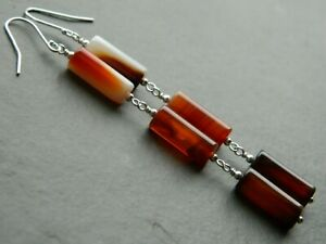 Natural Banded Carnelian Agate Gemstone Tubes, 925 Sterling Silver Long Earrings