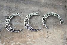 12pcss Antique Silver Hollow Crescent Moon Charms Pendant 39*9mm
