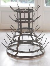 Antique French Galvanized steel Bottle Drying Rack ~ 52 holders great condition