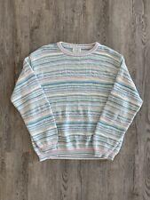 Vintage United Colors Of Benetton Sweater Sz L Striped Italy Multicolor Crewneck