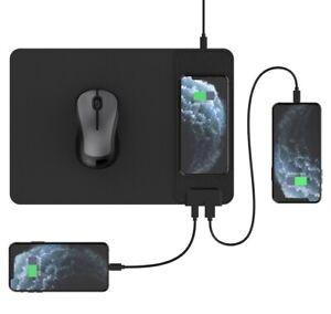 Qi-Ladegerät Mauspad Drahtlose 15W USB Typ C Anschlüsse Ladematte für Smartphone