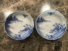 2 Vintage Antique Chinese Japanese Blue White Porcelain Glazed Bowls Not Marked
