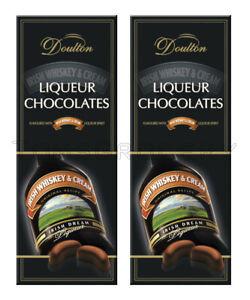 2 x Doulton IRISH WHISKEY & CREAM LIQUEUR Filled Chocolates Candy Box 145g 5.1oz