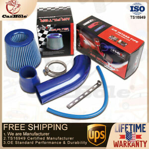 Car Cold Air Intake Filter Induction Kit Aluminum Pipe Hose Blue Universal USA