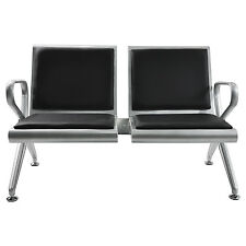 New Heavy 2-Seat steel Chair Garden Salon Airport Reception Waiting Room Bench