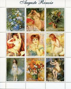 Tajikistan Art Stamps 1999 MNH Auguste Renoir Nudes Nude Paintings Flowers 9v MS
