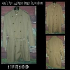 Vintage Misty Harbor Dress Coat Tan Double Breasted Trench Removable Lining 40 S