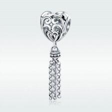 Tassel's Heart S925 Sterling Silver Charm Bead Dangle Pendant For Girl Bracelet