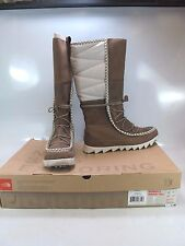 THE NORTH FACE Women's SISQUE TALL Brown Leather Faux Fleece Winter Boots US 10M