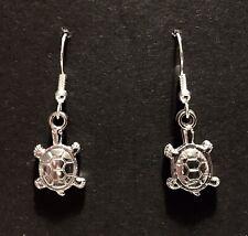 Silver coloured dangle earrings, 2 Sided, Tortoise, Turtle, Reptile, travel