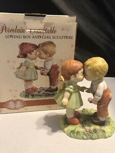 Sweet Porcelain Loving Boy & Girl Sculpture Figurine Gift NIB