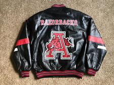 Men's Arkansas Razorbacks 58 SPORTS Black Leather Jacket Sz Large Zip Up