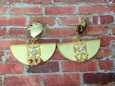 80s vintage deadstock gold filigree fan chandelier drop clip on earrings