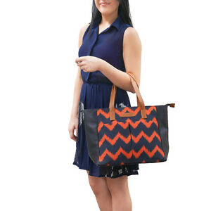 Embroidered Red Chevron Tote Bag