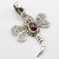 "Solid Sterling Silver Garnet DRAGONFLY Pendant 1.7"" Bestseller Gemstone Jewelry"