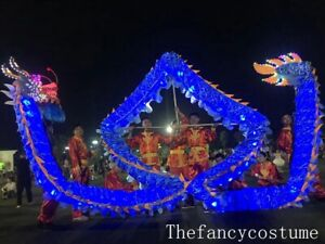 5.5m 6 kid LED Silk Chinese Folk mascot Costume Spring Day DRAGON DANCE Theater