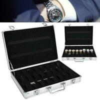 24Slot Aluminium Alloy Watch Display Case Jewelry Bracelet Organizer Storage Box
