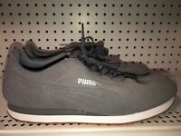 Puma Turin Suede Mens Athletic Running Shoes Size 11.5 Gray White