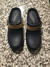 CROCS SARAH CLOGS Women's Size 7 Navy Blue Slip-On Shoes Brown Suede Strap