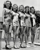 VINTAGE 1940s PHOTO BEAUTIFUL HOLLYWOOD ACTRESSES MODELING SWIMSUITS 8x10 PINUPS