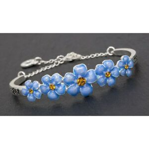 GIFT BOXED Equilibrium Silver Blue Forget me not Flower Bangle Gift 69157