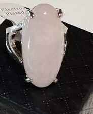 Big Silver Electro Chinese Export Rose Quartz Natural Gemstone Cabochon Ring 7.5
