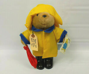 Eden Toys Paddington Bear With Yellow Rain Coat & Hat Black Boots Red Umbrella