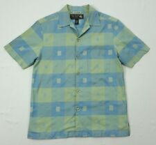 Nat Nast Mens Vintage 1946 Silk Green Blue Check Short Sleeve Camp Shirt Small